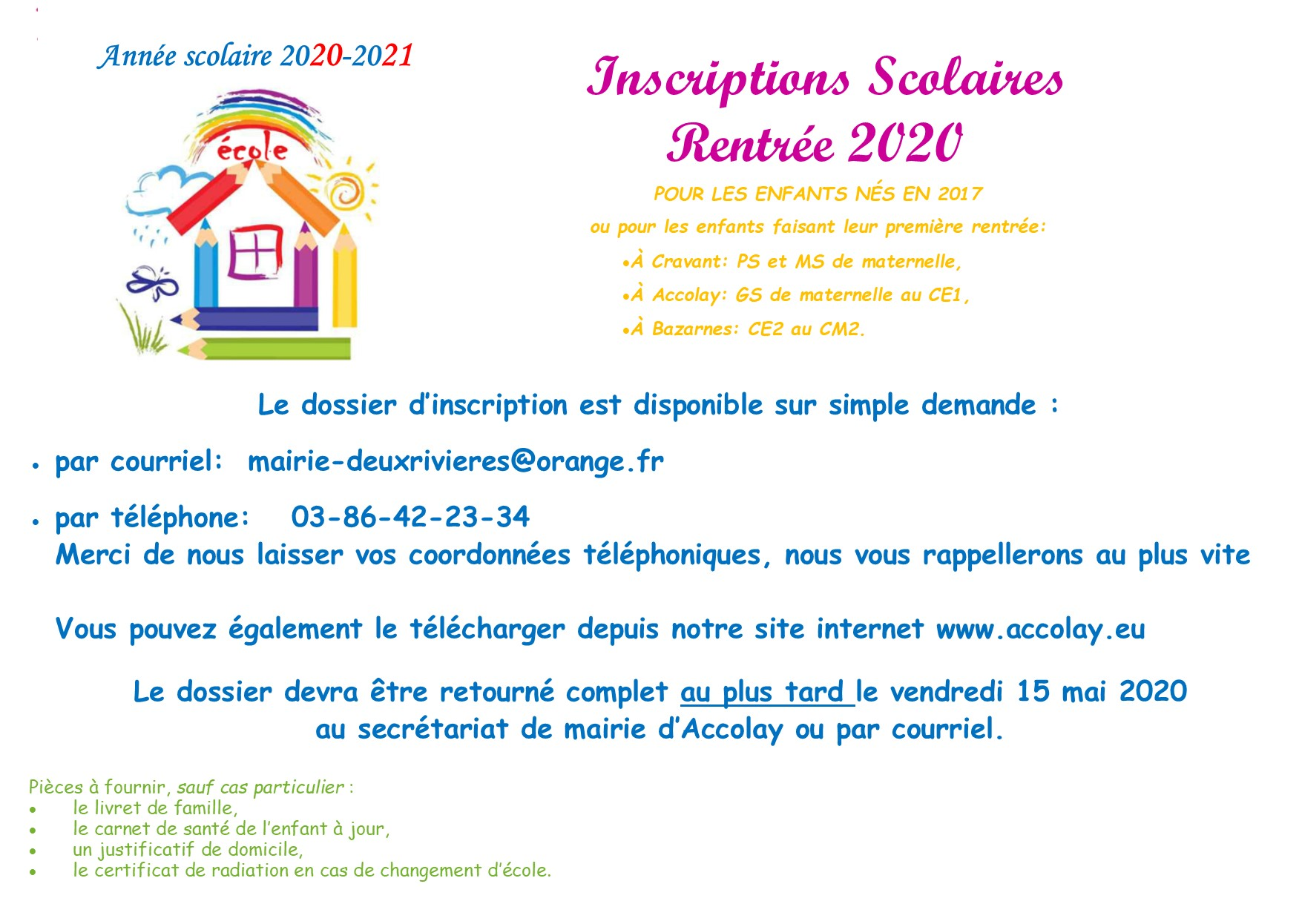 inscriptions scolaire Accolay