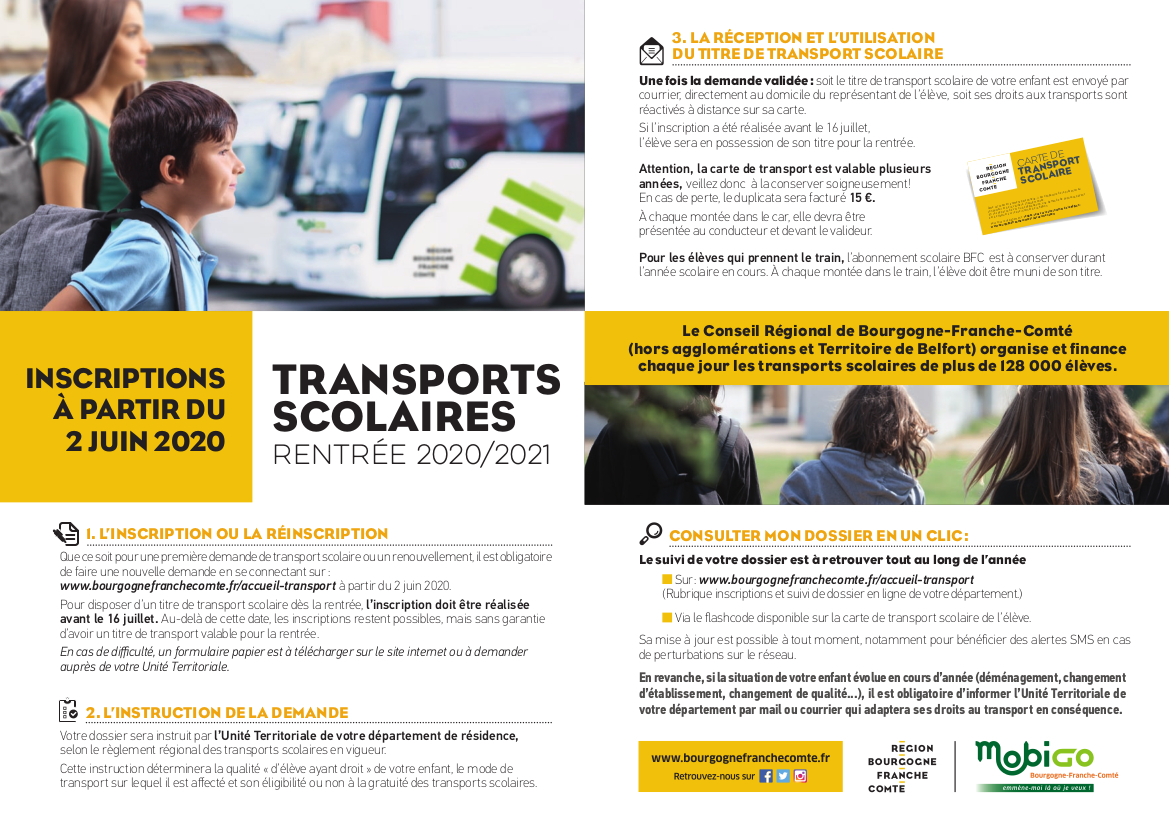 transports scolaires 2020